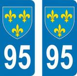 Lot de 2 Blasons Ile de France 95 Val d'Oise