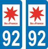 Lot de 2 adhésifs Ile de France 92 Haut de Seine