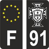 Lot de 2 stickers Europe fond noir et drapeau Portugal en N&B n° 91 fond noir