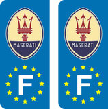 Lot de 2 stickers Ancien logo Maserati Europe