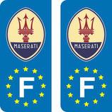Lot de 2 stickers Ancien logo Maserati Europe