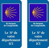 Lot de 2 stickers St jacques de Compostelle N° au choix