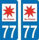 Lot de 2 adhésifs Ile  de France 77 Seine et Marne