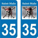 Lot de 2 stickers St Malo Corsaire N°35