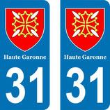 Lot de 2 Blasons Midi-Pyrénées 31 Haute Garonne