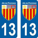 Lot de 2 stickers ville d' Aix en Provence