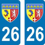 Lot de 2 Blasons Rhône Alpes 26 Drôme