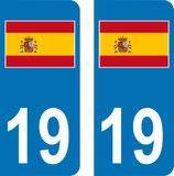 Lot de 2 stickers Drapeau Espagnol avec n° 19