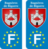 Lot de 2 stickers Bagnères de Bigorre Europe.