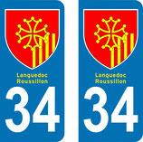 Lot de 2 Blasons Languedoc Roussillon 34 Hérault