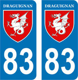 Lot de 2 stickers de la ville de Draguignan