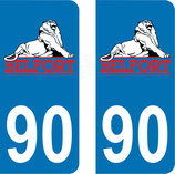 Lot de 2 stickers Territoire de Belfort n° 90