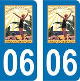 Lot de 2 stickers, Le soleil toute l'année sur la côte d'azur 06