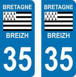 Lot de 2 adhésifs Bretagne 35 Ille et villaine