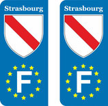 Lot de 2 stickers ville de Strasbourg  Europe