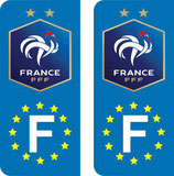 "Lot de 2 stickers nouveau logo 2 étoiles ""FFF"" Europe"