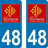 Lot de 2 adhésifs Occitanie Languedoc Roussillon 48 Lozère