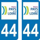 lot de 2 adhésifs Pays de Loire 44 Loire Atlantique