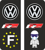 Lot de 2 stickers WV R line Europe et 2 stickers Rline, et stig  fond noir