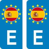 lot de 2 stickers Pays d'Europe  Espagne
