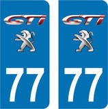 Lot de 2 stickers GTI Peugeot n° 77