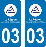 Lot de 2 stickers Auvergne Rhône Alpes 03 Allier