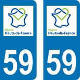 Lot de 2 adhésifs Haut de France 59 Nord