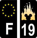 Lot de 2 stickers Disney fond noir avec N° 19 et 2 stickers Europe fond noir
