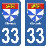 Lot de 2 Blasons Aquitaine 33 Gironde