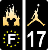 lot de 2 stickers Mickey Europe fond noir et 2 stickers Jordan fond dégradé comme le chateau disney et n° 17