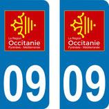 Lot de 2 adhésifs Occitanie Midi Pyrénées 09 Ariége