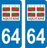 Lot de 2 adhésifs Aquitaine 64 Pyrénées Atlantiques, drapeau Basque.