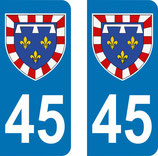 Lot de 2 Blasons Centre 45 Loiret