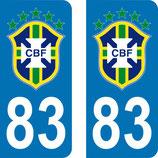 Lot de 2 stickers Brésil avec le N° 83