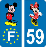 Lot de 2 stickers Mickey Europe et 2 stickers Minnie n° 59