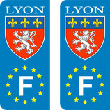 Lot de 2 stickers ville de Lyon Europe