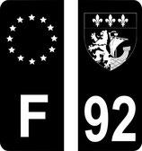 Lot de 2 stickers Europe et 2 stickers perso Blason et n° 92 fond noir
