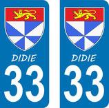 Lot de 2 stickers Blason avec texte DIDIE n° 33