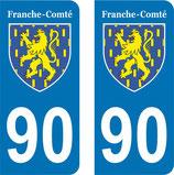 Lot de 2 Blasons Franche Comté 90 Territoire de Belfort