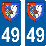 Lot de 2 Blasons Pays de Loire 49 Maine et Loire