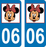 Lot de 2 stickers Minnie avec N° 06