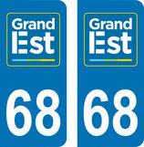 Lot de 2 adhésifs GRAND EST Alsace 68 Haut Rhin