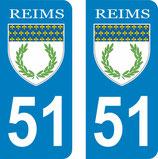 Lot de 2 stickers ville de Reims