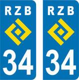 Lot de 2 stickers RZB N° 34
