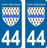 Lot de 2 stickers armoiries 44 Loire Atlantique