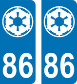Lot de 2 stickers Star Wars avec n° 86