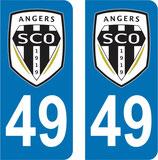 Lot de 2 stickers SCO Angers avec le n° 49