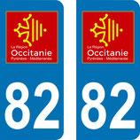 Lot de 2 adhésifs Occitanie Midi Pyrénées 82 Tarn et Garonne