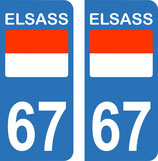 Lot de 2 stickers ELSASS N° 67