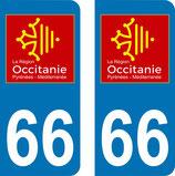 Lot de 2 adhésifs Occitanie Languedoc Roussillon 66 Pyrénées Orientales